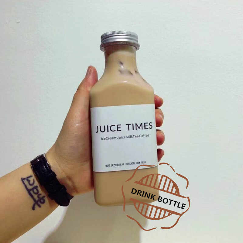 340ml 400ml plastic square bottom milk transparent bottle milk  yogurt  juice drink bottle 10PCS