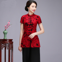Women Short Sleeve Shirt Sexy Red Lace Mandarin Collar Tops Chinese Style Mother Wedding Blouse 2018 Summer Plus Size M 5XL