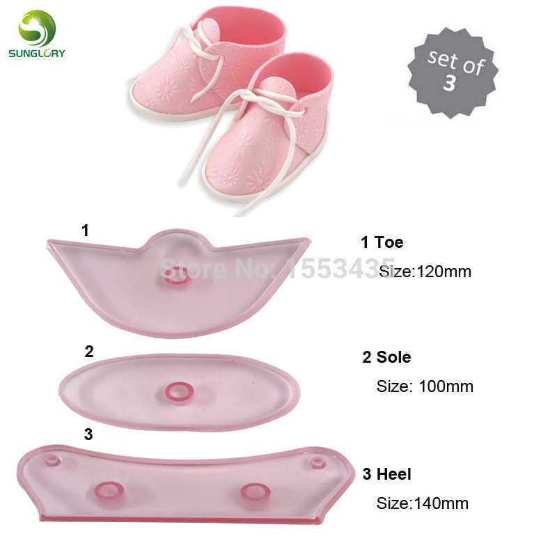 3 PÇS/SET Bebe Sapatos Sapatinho de Bebê Fondant Molde Do Bolo de Plástico Cookie Cutter Mold Para O Cozimento Ferramentas de Decoração Do Bolo de Cozinha Cor rosa