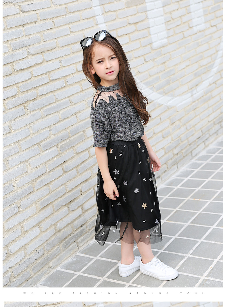 7c91d32988bf Girls Clothing Sets Teenage Summer Fashion costume for Big girl outfits  2pcs T shirt + Sequins Mesh Skirts 6 8 10 12 14 16 Years 0 10 11 A A1 A2 A3  A4 ...