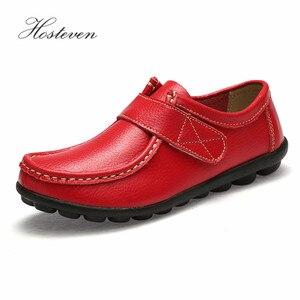 Image 1 - Hosteven النساء حذاء رياضة الشقق جلد طبيعي عارضة المتسكعون الأحذية كعب منخفض الأخفاف الأحذية الصلبة كبيرة الحجم