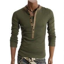 Neue Plus Größe Herren Herbst Casual T-shirt Mode Schlanke Lange Sleeve V-ausschnitt T-shirt Taste Dekorieren/Tops 19