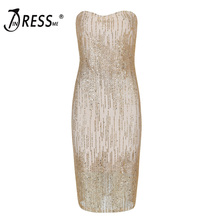INDRESSME Sexy Strapless Backless Sleeveless Women Bandage Dress Fashion Sequined Mini Bodycon Spring Women Party Dress Vestidos