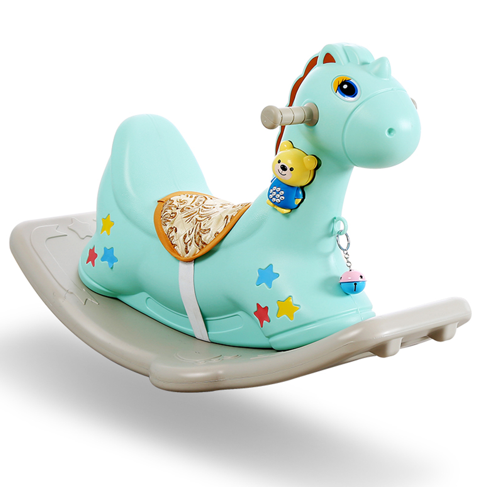 Enfants cheval à bascule Ride sur jouets bébé intérieur Ride cheval jouet enfants jeu roches 1-6 ans jouet Cartoon écologique - 2