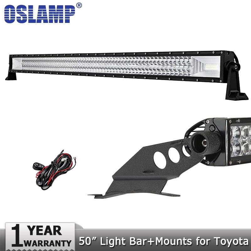 Oslamp 50inch 702W 3-Row Offroad LED Light Bar Combo Beam Led Work Light Bar Driving Lamp DC12V 24V for Toyota Tacoma 2005-2015