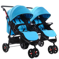 Detechable Portable Twins Baby Carriage Tricycle Stroller Pram Folding Two Baby Double Stroller for Twins Buggy Pushchair 0~3 Y