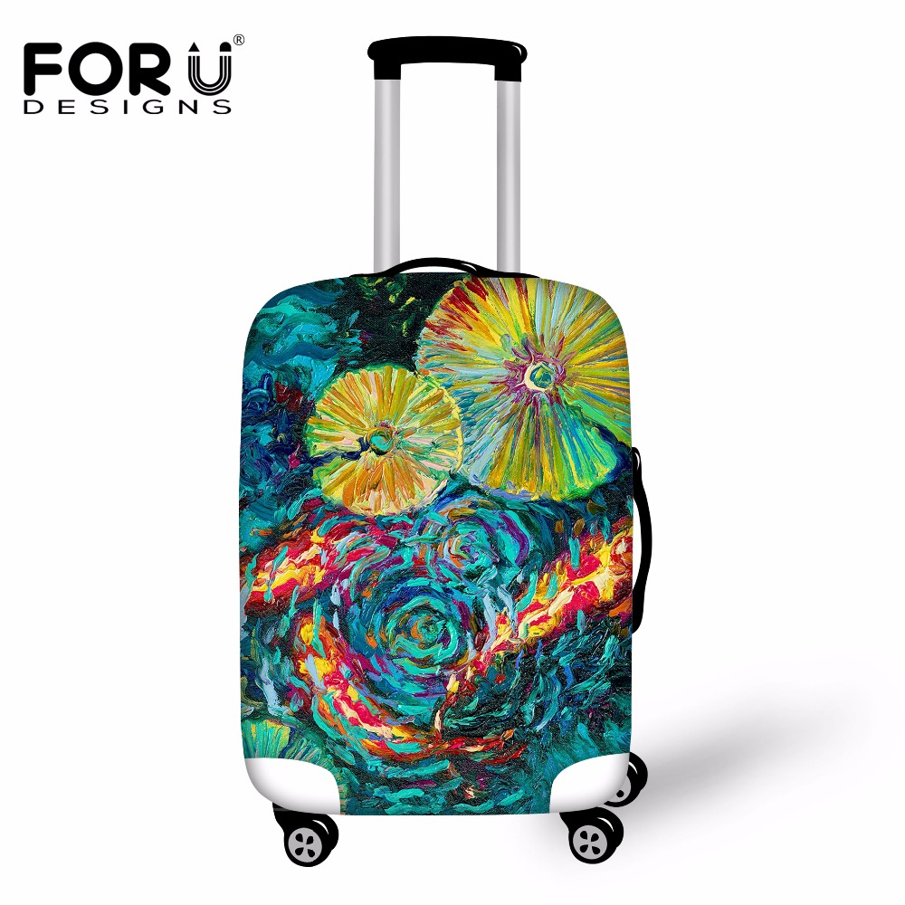 FORUDESIGNS 3D Painting Printing Elastic Luggage Protective Cover Spandex Travel Accessories Waterproof Anti-dust Suitcase Cover