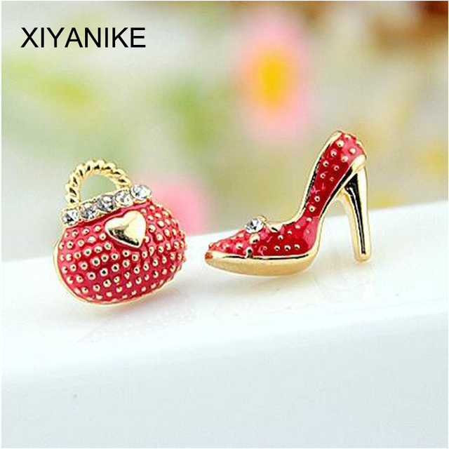 New Fashion Cute Bags Heels Shoe Asymmetric Earrings For Women Gold Plated wholesale High Quality boucle d'oreille XY-E546