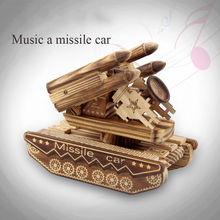 Wooden Music Box Ornaments Radar Tank Model Toys Creative Gifts Home Furnishing Wooden Crafts Ornaments