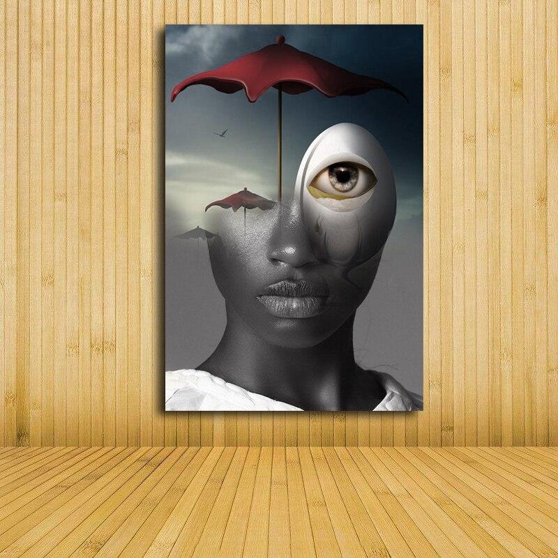 Beauty sky eyes umbrella girl Modern Home Wall Decor Painting Canvas ...