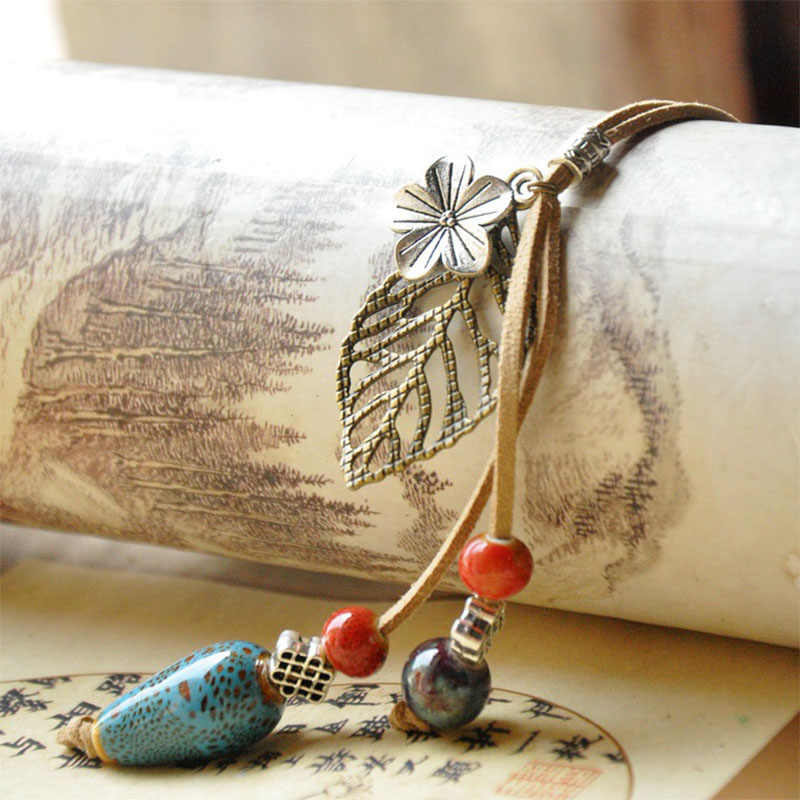 Leather Necklaces Flower Ceramic Beads Water Drop Pendants Leaf Charm Choker Rope Chain Women Fashion Jewelry Accessories