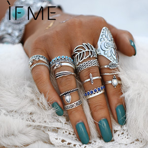 IF ME Vintage Bohemian Ring Set Punk Antique Silver Color Leaf Armor Shield Geometric Knuckle Midi Rings for Women Jewelry Gifts