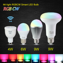 Ac85-265v MILIGHT 2.4 G Wireless E27 GU10 MR16 RGBW RGB / WW WW / W wifi de la lámpara 4 W / 6 W / 9 W lampada LED regulable bombilla de la lámpara luz del punto