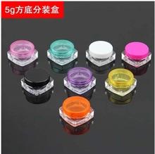 Wholesale - 100pcs Multicolor Cosmetic 5 ml Clear Square Pot cosmetic Jar &10Colors rim window Top Sample Posh, LKU011