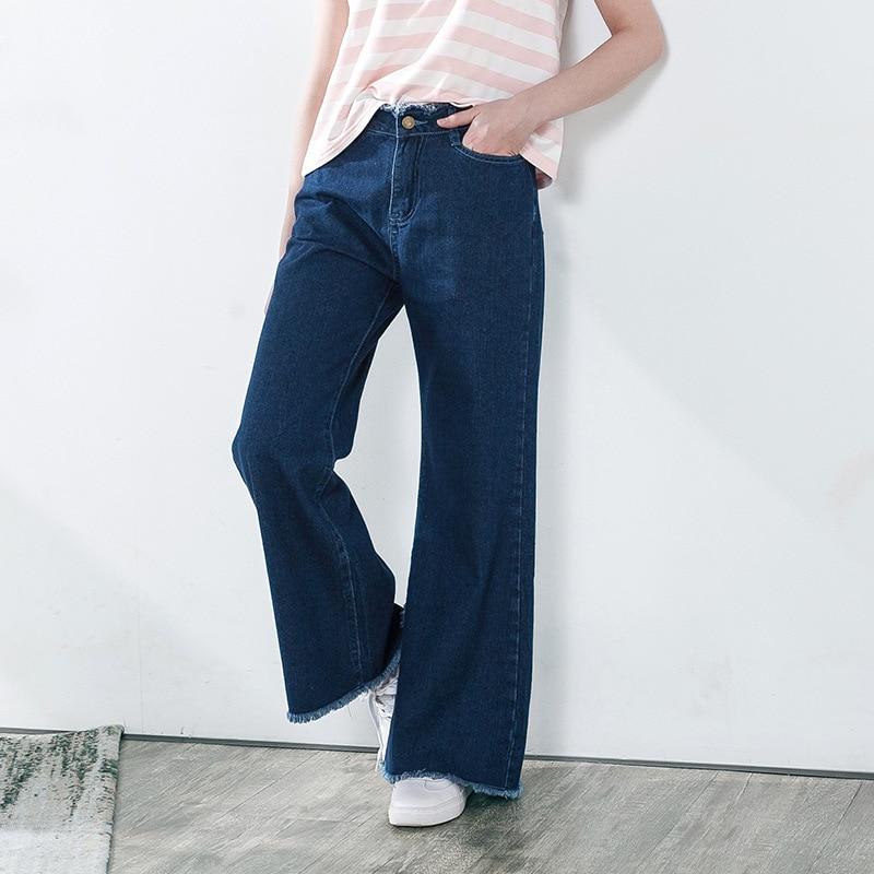 Women retro Vintage Ripped Blue Denim Wide Leg Pants Jeans Ladies Casual Loose Denim Trousers Jeans Autumn
