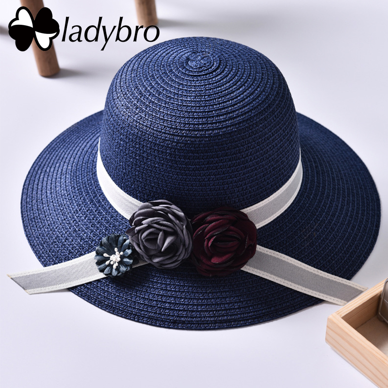 Ladybro Summer Women Sun Hat Beach Straw Hat Wide Brim Hat For Female Ribbon Elegant Bucket Hat Lady Fashion Travel Visor Cap