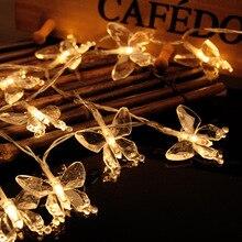 20 светодиодов led бабочка светодиодов Строка Водонепроницаемый Батарея питание Шторы Праздничные огни Рождество новый год Гирлянда Свадебный декор