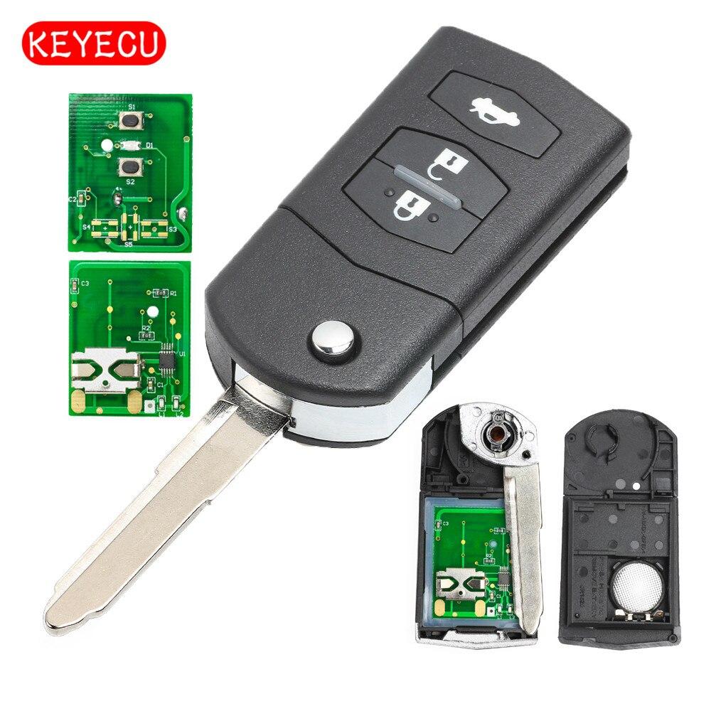 Keyecu Folding Remote Key Car Starter 3 Button 433MHz 4D63 Chip For Mazda 2 / 3 / 5 / 6 / MX5 / CX7 (SKE126-01)