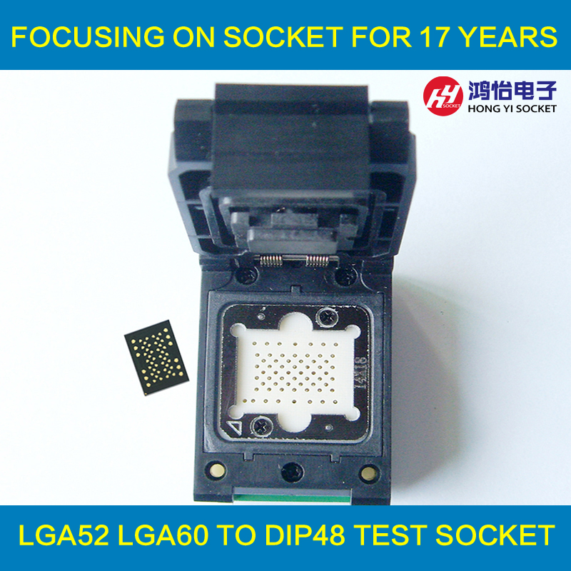 LGA52 TO DIP48 Pogo pin IC Test Socket With Board Flash Programmer Adapter Burn in Socket Cleamshell Structure Adapter 8pins dip dip 8 ic socket test socket round hole square type pin dip8 dip14 dip16 dip18 dip20 dip24 dip28 dip32 dip40