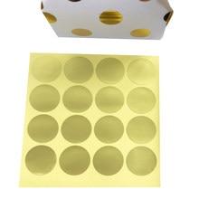 Etiquettes rondes couleur or et blanc, adhésifs en forme de petits ronds, pour fermeture d'emballage, paquets cadeau, enveloppe de gâteau, lot de 160 pièces