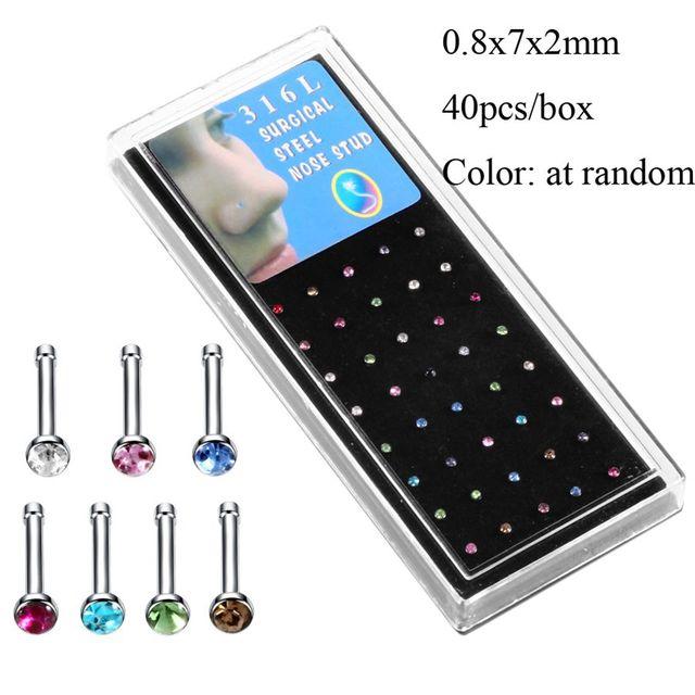 1Set Steel Crystal Nose Pin...