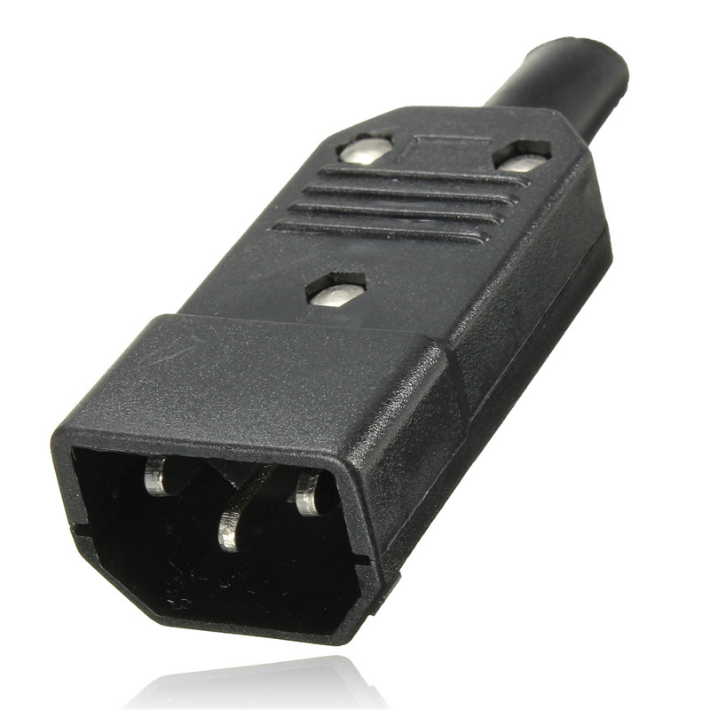 New Black 3 Pin IEC 320 C C14 Male Plug Rewirable Power Connector Socket AC 250V/10A Panel Mounting Power Inlet Socket 1set iec c14 male female plug rewirable power connector 3pin iec c14 socket computer cable power adapter 10a 250v hy1098