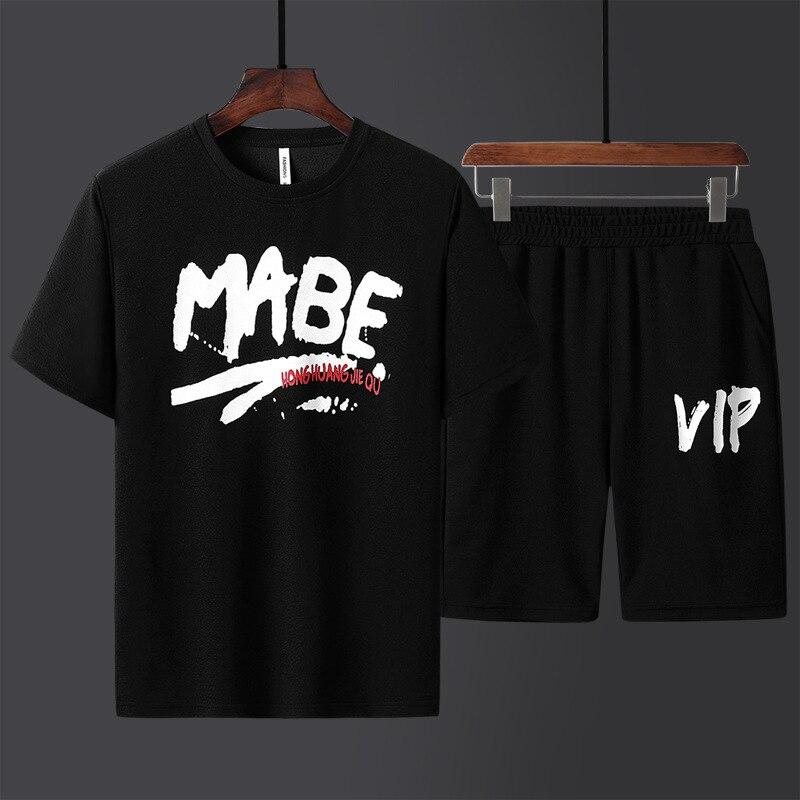Men New Summer Cotton Short Set Men Letter Print Breathable Tracksuit Plus Size 4xl Beachwear 2019 T-Shirt Suit Fashion Suit Men