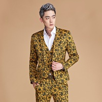 2018 new printing man suit yellow flowers suit MC clothing two nightclub performance