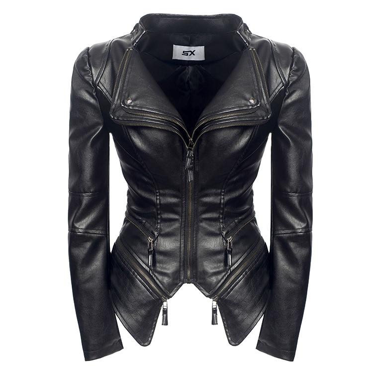 Women Spring   Leather   Coat Black Motorcycle Jacket 2019 Outerwear Double Lapels Shrug Faux   Leather   PU Jacket Gothic Coats SX04