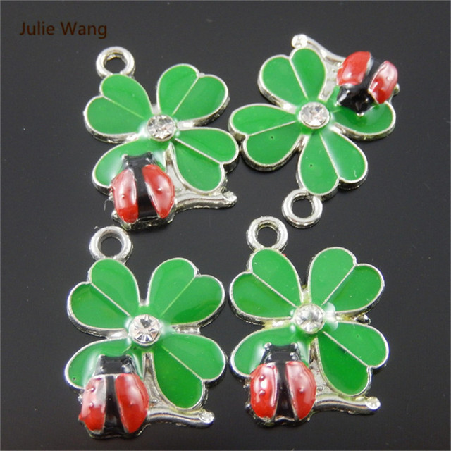 Julie Wang 5pcs Mini Charms Silver Pated +Enamel Green&Red Ladybug Pendant Handmade Hanging Crafts
