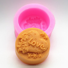 Gift Wedding Decoration Ornament Craft Soap Round Mold Letter LOVE Making Silicone Molds