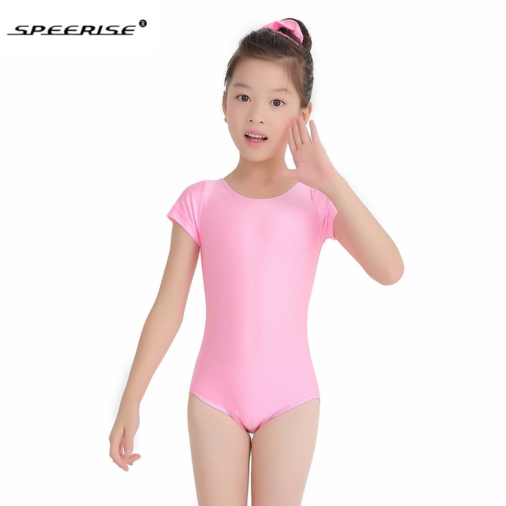 Brand New  Girls leotard light pink  cotton short sleeved cap sleeved