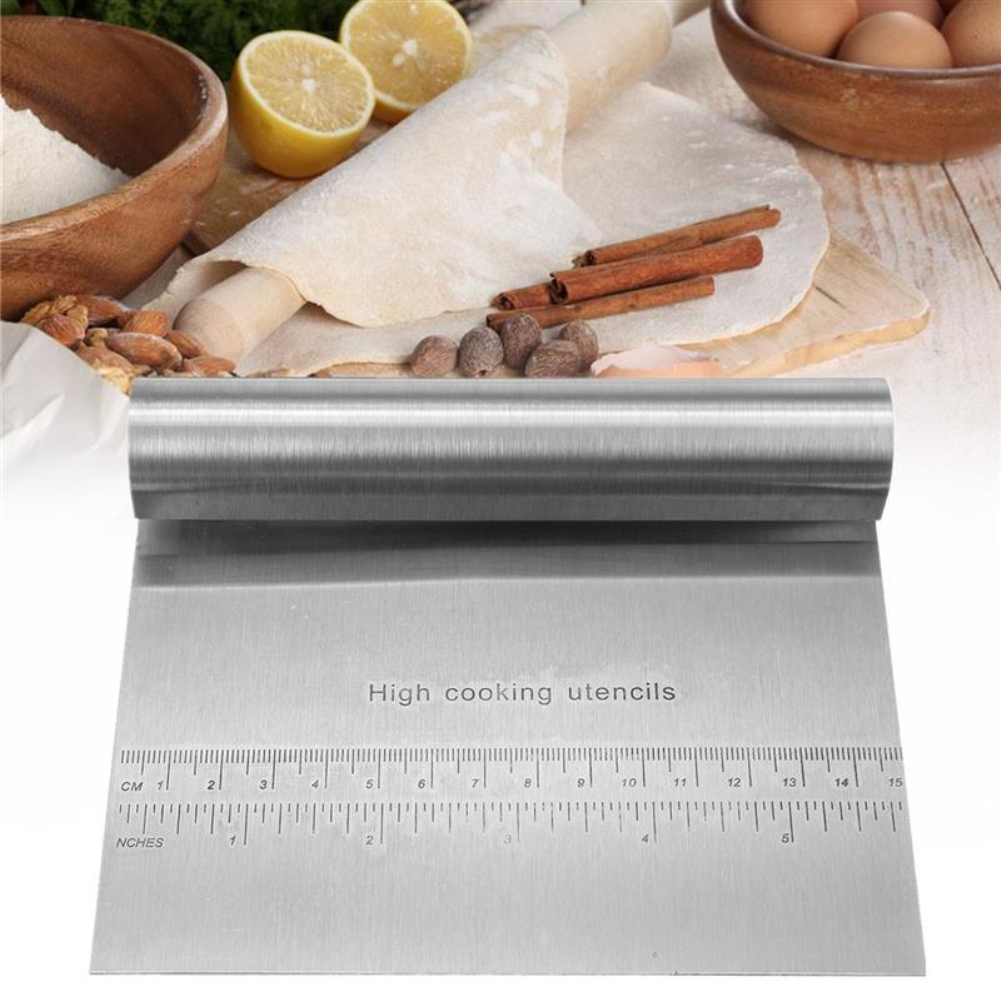 Stainless Steel Pizza Cake Paste Scraper Cutter Baking Pastry Spatulas Fondant Cutting Cream With Measuring Guide <font><b>Kitchen</b></font> <font><b>Tools</b></font> image