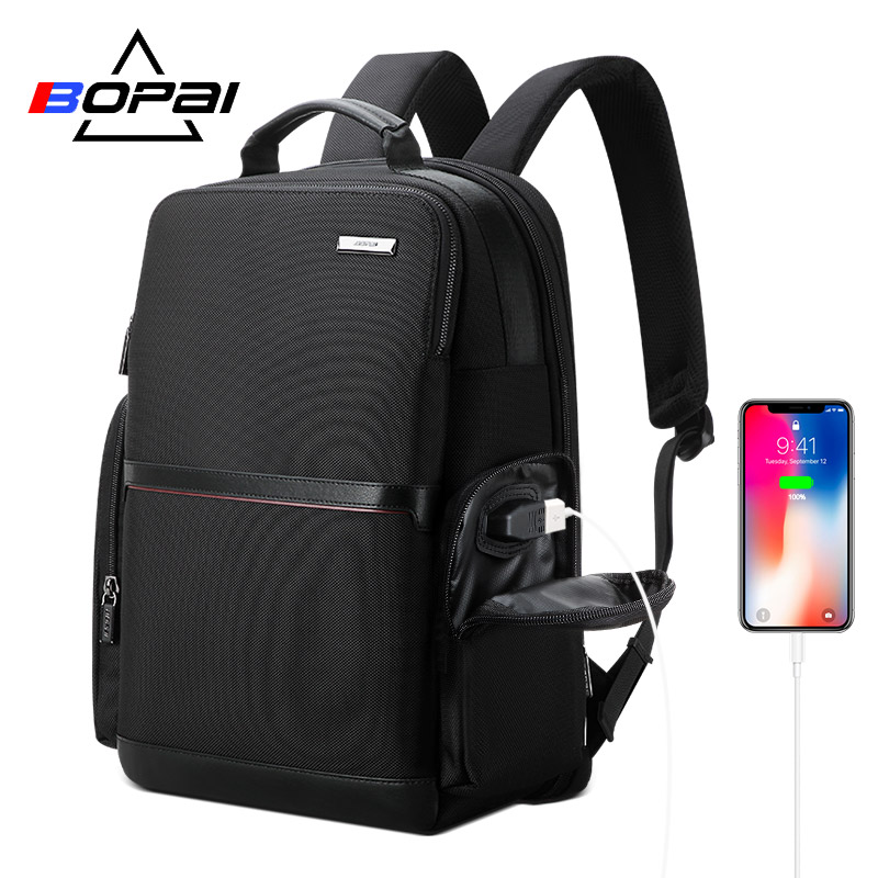 BOPAI 2019 Black Business Laptop Backpack USB Charging High Schoolbag Nylon School Backpack Water Repellent Back Pack Men Zaino
