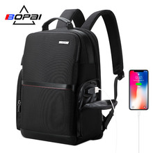 BOPAI 2019 Black Business Laptop Backpack USB Charging High Schoolbag Nylon School Backpack Water Repellent Back Pack Men zaino factory direct sales business backpack double shoulder pack usb charging schoolbag laptop package one issue wholesale