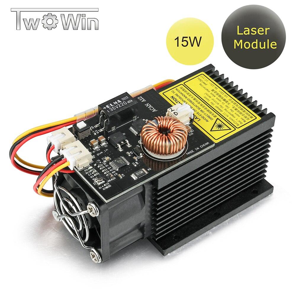 15W High Power Laser Module 12V 445-450nm Blue Laser Head Fixed Focus Laser Engraving For DIY CNC Laser Engraving Machine