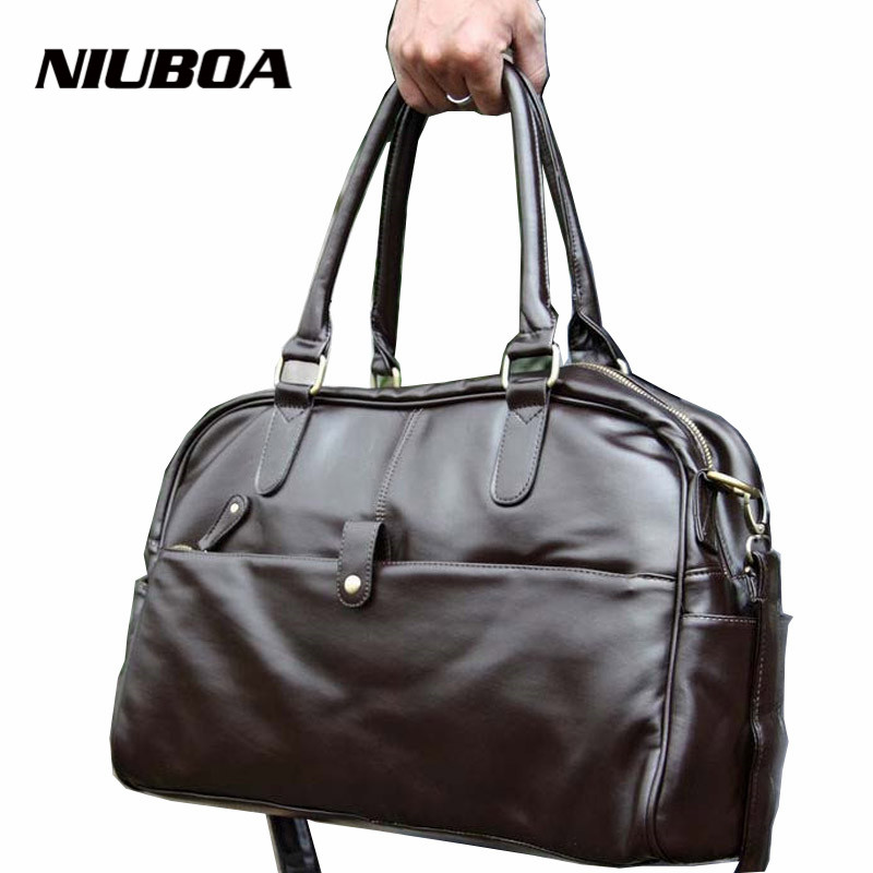 NIUBOA Travel Duffel PU Zipped Men s or Women s Luggage Versatile Black Solid Waterproof Weekend
