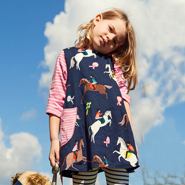 Baby Girl Clothes Long Sleeve Girls Dress with Animal Appliques 100% Cotton Casual Tunic Elsa Dress Kids Clothes Vestidos summer girl dress striped short sleeve dress for girls cotton casual o neck kids girl vestidos girl clothes