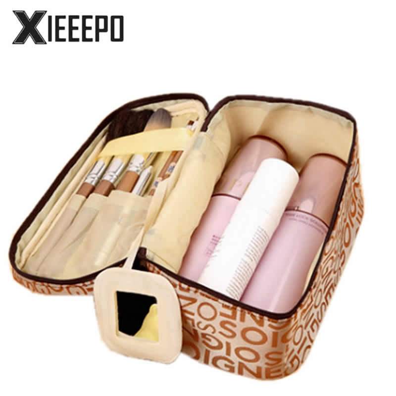 Women Fashion Letter Cosmetic Bag Functional Travel Zipper Makeup Case Make Up Bags Handbag Organizer Storage Pouch Kit Toiletry 3 set casual women travel cosmetic bag pvc leather zipper make up transparent makeup case organizer storage pouch toiletry bags