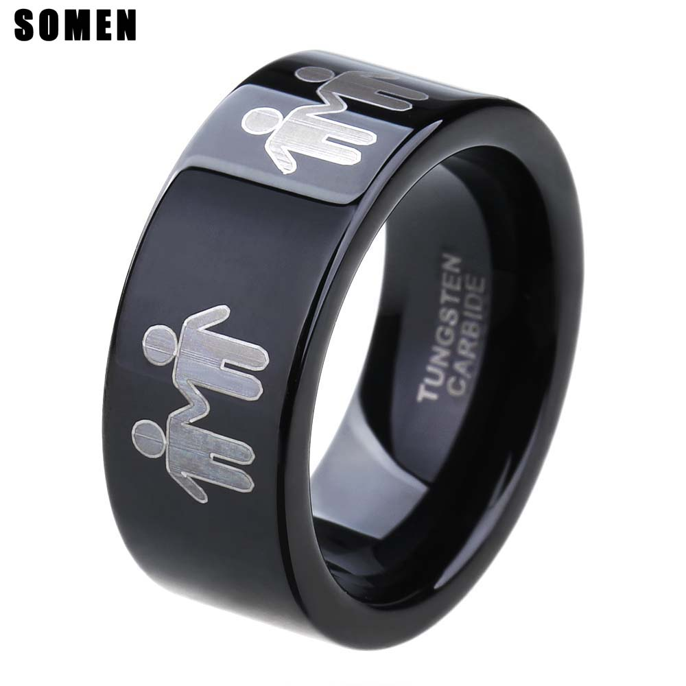 8mm Black Tungsten Carbide Family Ring Lovers Engagement Couple Rings Men Wedding Band Boys Girls