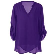 f20f22688f2 Женские топы и блузки туника Топ шифон регулируемый рукав однотонная блузка  плюс размер v-образный вырез корейская модная Одежда..