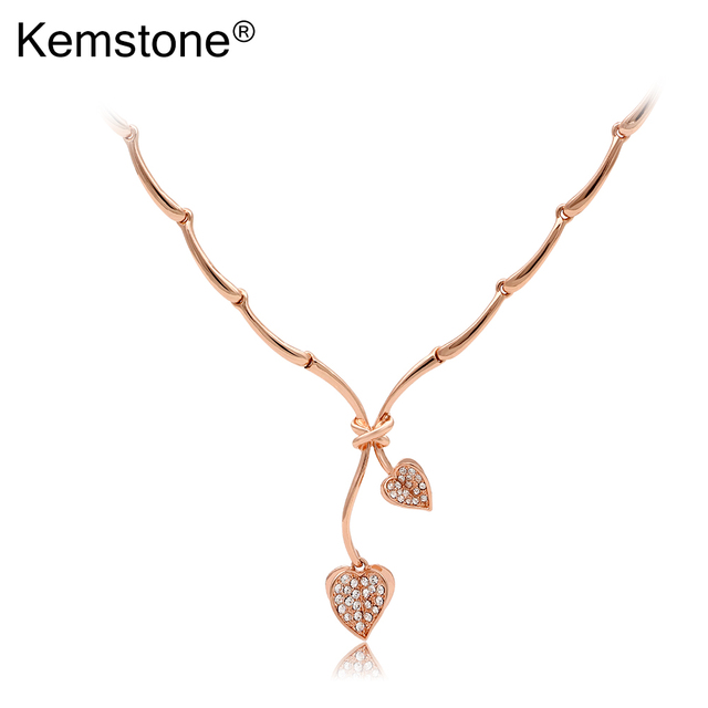 Kemstone Rose Gold Color Crystal Necklace Heart Pendant for Lover, 18.1""
