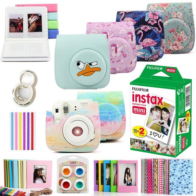 Para Fujifilm Instax Mini 8 Mini 9, cámara de fotos instantáneas, funda de piel sintética, funda para bolsa + 20 hojas Instax Mini Films + juego de accesorios
