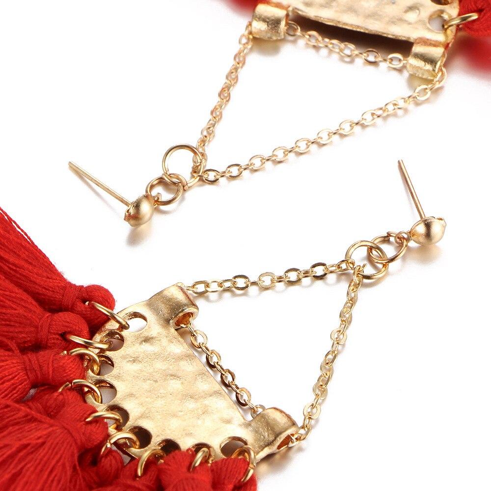 Beautiful Skirt Design Multiple Strands Tassel Drop Earrings Women Anti-Gold Chain Dangle Earrings Fashion Jewelry Girls Gift