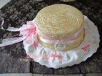 Công chúa ngọt ngào lolita Nhật Bản Countryside mềm cô gái Nhỏ đáng yêu màu hồng tươi Hydrangea Rơm hat hat Chính Thức MSG MZ015