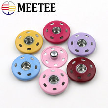 20pcs MEETEE high-grade colorful round metal buttons coat shirt invisible hand sewn  snap button D4-10