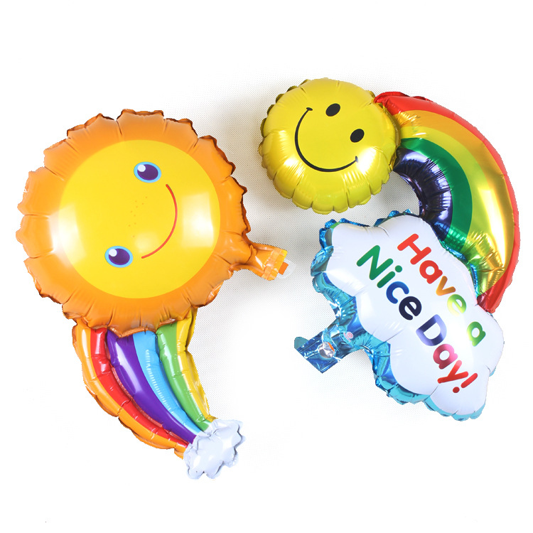 2pc/lot Happy Birthday Balloon Aluminum Balloons Large Rainbow Smiley Sunny smil