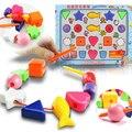 Пластиковые Шнуровкой Threading Нанизывая Блоков Формы Обучения Детей Игрушки Дошкольного Образования Детей Birthay Подарок Игрушки для Детей