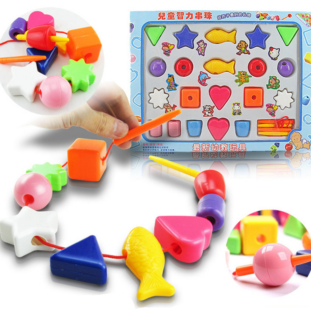 Educational Toys Nursery : Plastic lacing stringing threading shape blocks kids