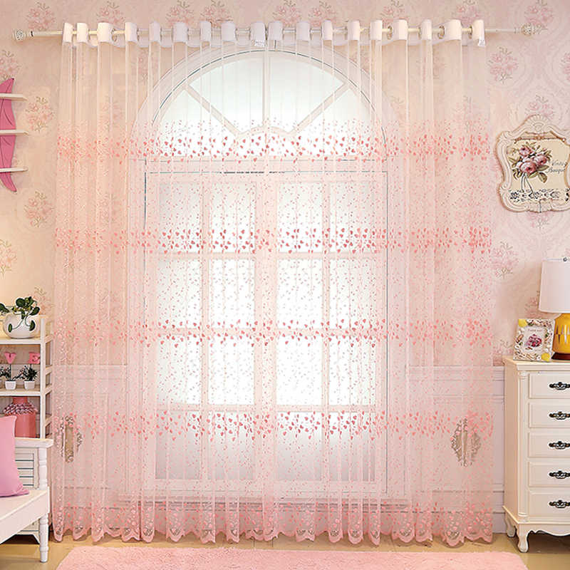 Pastoral Floral Blue Tulle Sheer Window Curtains for Living Room Bedroom Pink Kitchen Tulle Lace Window Treatments WP208-30